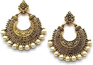 iKraft Oxidized Chandbali Earrings German Silver Plated Antique Finish Chandelier Earring for Girl and Women