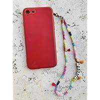 Phone strap perline charm Happy personalizzato con lettere e nome. Porta cellulare da polso e gioiello per il tuo…