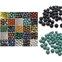 Crystal King, Perle/pietre semi-preziose, gemme, per artigianato, ossidiana, avventurina, giada, onice, occhio di tigre…