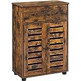 VASAGLE Meuble de rangement avec tiroir, Armoire salle de bain, Placard, Buffet, avec 2 portes persiennes, planche réglable,