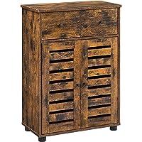 VASAGLE Meuble de rangement avec tiroir, Armoire salle de bain, Placard, Buffet, avec 2 portes persiennes, planche…