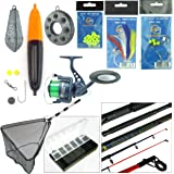 Sea Fishing Kit with Travel Rod & Reel. Includes Sea Fishing Rod, Reel, Net & Tackle For Fishing From Beach, Pier or Rocks.
