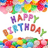 ToyNext™ Happy Birthday Letters Foil Balloon Set Decoration Combo with 50 Polka Dot Balloon, Birthday Balloons for Decoration