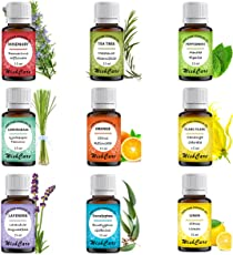 Wishcare Essential Oil 9 In One Pack Natural Lemon Grass, Lemon, Lavender, Orange, Tea Tree, Peppermint, Eucalyptus, Rosemary, Ylang Ylang, 15 Ml Each