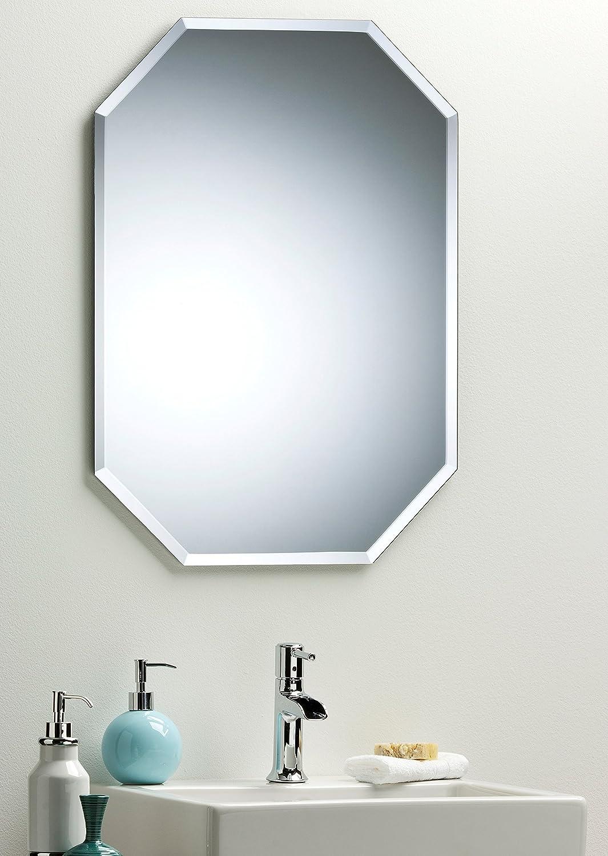 Octagon Bathroom Wall Mirror Modern Stylish With Bevel Plain 2 Sizes