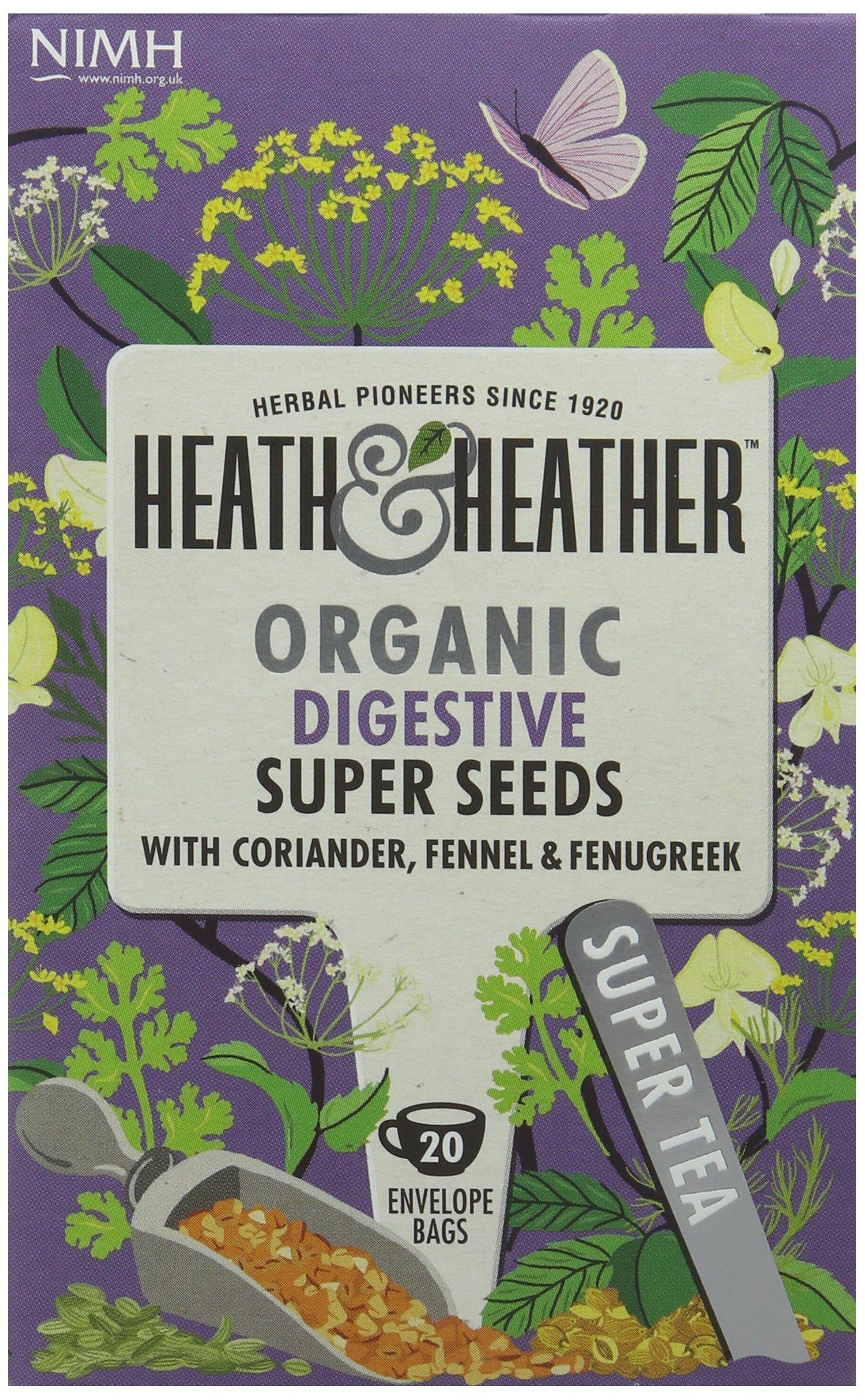 Heath & Heather health tea tea bundle (soil association) (infusions) (6 packs of 20 bags) (120 bags) (a vegetal tea with aromas of aniseed, coriander, fennel, fenugreek) (brews in 3-5 minutes)