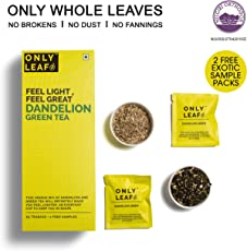 Onlyleaf Dandelion Green Tea, 27 Tea Bags with 2 Free Exotic Samples