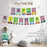 Suruchi Strokes Vehicle Theme Birthday Decoration   Birthday Banner   Cake Topper   Swirls Ceiling Hangings   Hand Props   Re