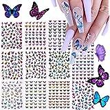 12 Vellen 3D Laser Vlinder Nagelstickers, EBANKU Zelfklevend Diverse Patronen Vlinder Nagelstickers voor Dames Salon Thuis Na
