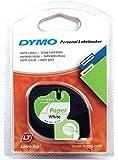 Dymo 10697 Papierband (selbstklebendes, LetraTag-Etikettiergeräte, 12 mm, 4-Meter-Rolle) 1er-Packung weiß
