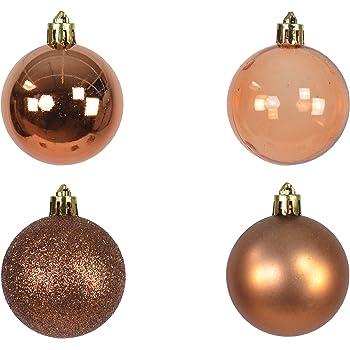 Amazon De 12 Set Weihnachtskugel Kupfer Bronze Braun 5cm