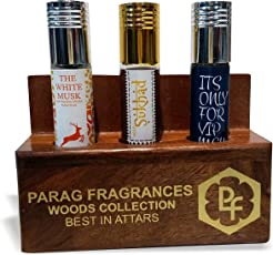 Parag fragrances White Musk Attar, 6ml with Sukhad Attar, 6ml and Its Only For Vip Men Attar, 6ml with Free Wooden Stand