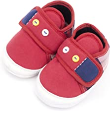 Infano Buttons Style Backside Check Print Baby Shoes New (6-12 months,1 Pair)
