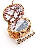 Picknickkorb 2 Personen Aus Weide - 15tlg. - Mit Kühlfach In 2 Ausführungen - Weiden Picknickkorb mit Deckel, Geschirr Set - Rot Weiß gestreift
