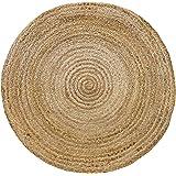 HAMID Tapis Jute naturel - Alhambra rond Tapis 100% fibre de jute (Naturel, 100x100cm)