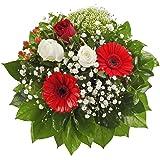 """Dominik Blumen und Pflanzen, Blumenstrauß """"Gruß von Herzen"""" mit Rosen, Gerbera und Johanniskraut"""