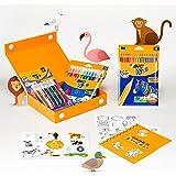 BIC Kids Pennenset: 36 stickers, 18 kleurpotloden, 12 viltstiften, 1 kleurboek en 6 glitterlijm, My Colouring Box, ideaal voo