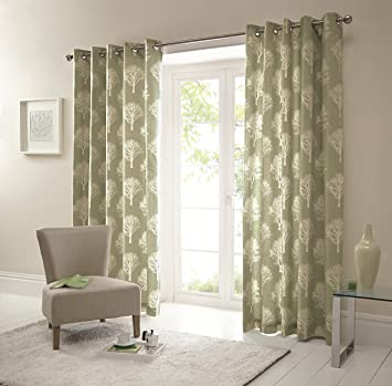 One pair of 'Woodland Trees' Eyelet Curtains in Green, Size: 66 x ...