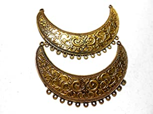 Goelx Antique Golden Pendant Moon Shaped for Necklace Making - Design 5