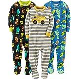 Simple Joys by Carter's Pijama de algodón con pies Ajustados Bebé-Niños, Pack de 3