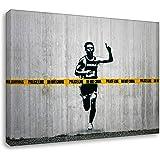 Druck auf leinwand Banksy Graffiti - Bild Do Not Cross ! Bild fertig auf Keilrahmen !Kunstdrucke, Wandbilder, Bilder zur Dekoration -Banksy STR (70x100 cm)
