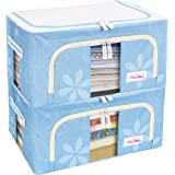 BlushBees® Living Box - Storage Boxes for Clothes, Shirts, Saree Cover - 24 Litre, Pack of 2, Blue