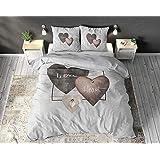 SLEEP TIME Housse De Couette 100% Coton Coeurs d'amour, 220 x 240cm, 60 x 70cm, Gris