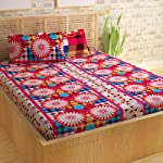 Story@Home 144 TC 100% Cotton Maroon 1 Double Bedsheet with 2 Pillow Cover