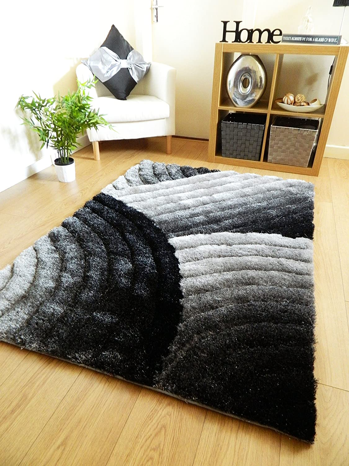 Perfect New Silver Grey Black Luxurious Thick Pile Rug Modern Soft Silky