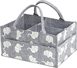 CozyCaddy Grey Diaper Caddy | Store Clothes, Teething Toys and Baby Stuff | Baby Shower Gift | 14 X 10 X 7 Larger Sturdy Bottom | Durable Felt (Grey)