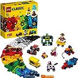 LEGO 11014 Classic Stenen en wielen startersset voor kinderen vanaf 4 jaar, met speelgoedauto, trein, bus, robot en meer
