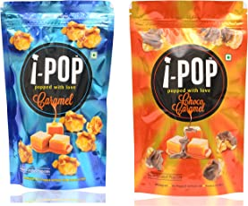 i - POP Caramel Popcorn and Choco Caramel Popcorn (Combo of 2, 160 grams)