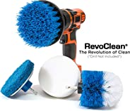 RevoClean 4 Piece Scrub Brush Power Drill Attachments-All Purpose Time Saving Kit-Perfect for Cleaning Grout, Tile, Counter, Shower, Grill, Floor, Kitchen, Blue & White