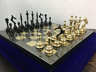 Chessncrafts Brass Metal Chess Board Set with Velvet Storage Box (Black and Gold Glossy Polish)