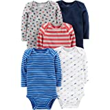 Simple Joys by Carter's Unisex bebé trajecito de manga larga de algodón, Pack de 5