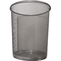 DIVCHI Circular Mesh Wastebasket Trash Can, Waste Basket Garbage Can Bin for Bathrooms, Kitchens, Home Offices, Dorm Rooms (SILVER)