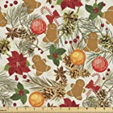 Ambesonne Christmas Fabric by The Yard, Vivid Colorful Xmas Theme Pine Cones Branches Gingerbread Man Berry Image Print, Deco