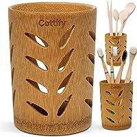 Porte brosses à Dents de Salle de Bains en Bambou de qualité, Gobelet avec Trous, Séchage Rapide, pour Brosses à Dents…