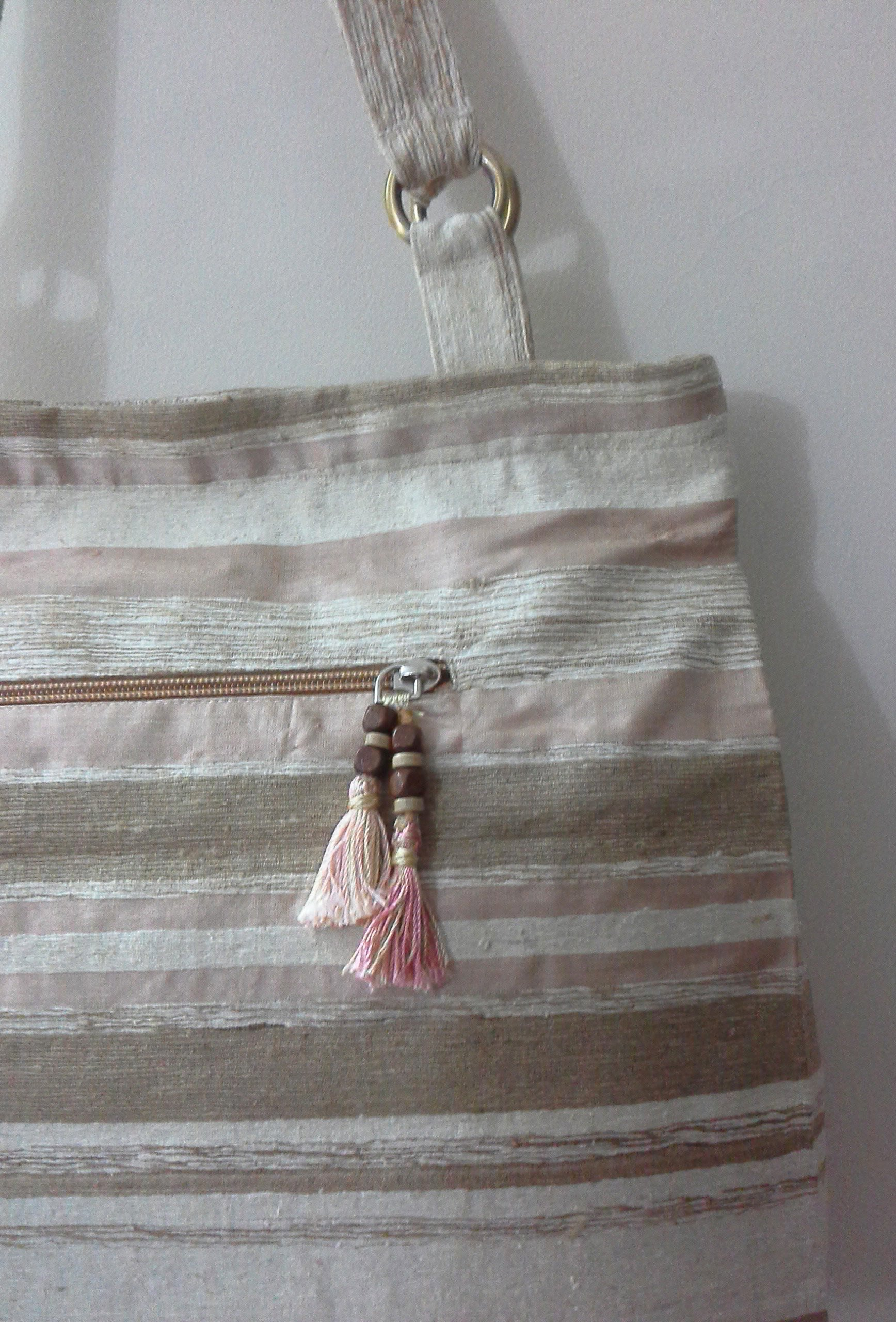 Panigha India Handmade Textured Silk Fabric Bag in Natural tones with Hand Embroidery - handmade-bags