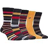 Farah - Mens 5 Pack Natural Organic Bamboo Bright Striped Patterned Socks