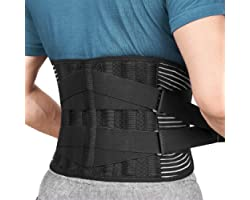 FREETOO Back Support Brace with 6 Support Stays, Breathable 16-hole Mesh Lumbar Support Belt, Double Compression Adjustment L
