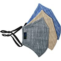 OxiClear Handloom Linen Anti-Pollution Face Mask, 3-Layer Super Breathable, Washable & Reusable (Pack of 3)