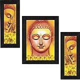 SAF UV Textured Buddha Print Framed Painting Set of 3 for Home Decoration – Size 35 x 2 x 50 cm SANFSA7706