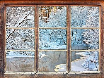 paesaggio invernale mozzafiato, finestra adesivi murali 3D Formato ...