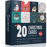 Christmas Cards Pack of 20   Eco Friendly   Plastic Free   Made in The UK   Pack of Christmas Cards New for 2020