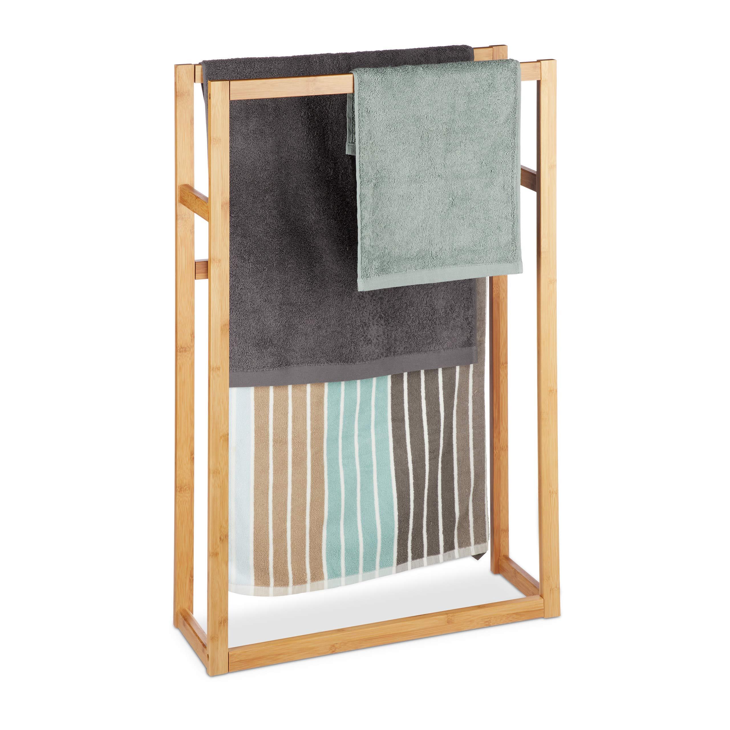 Porta Asciugamani Per Bagno In Legno.Relaxdays Porta Asciugamani Da Terra In Bambu A 2 Bracci Porta
