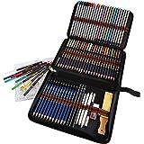 Crayon de Couleurs Professionnel, Kit Dessin Complet 72 pièces avec 24 Crayons Aquarelle 12 Crayon Couleurs 12 Crayons Metall