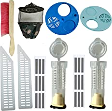Beekeeping Equipment (Combo of 10 Item), Bee Veil(Army)-1, Bee Brush-1,Plastic Food Grade Queen gate-2, Queen Cage-2, Food Grade plasticMigration gate-2,Ventilator-2