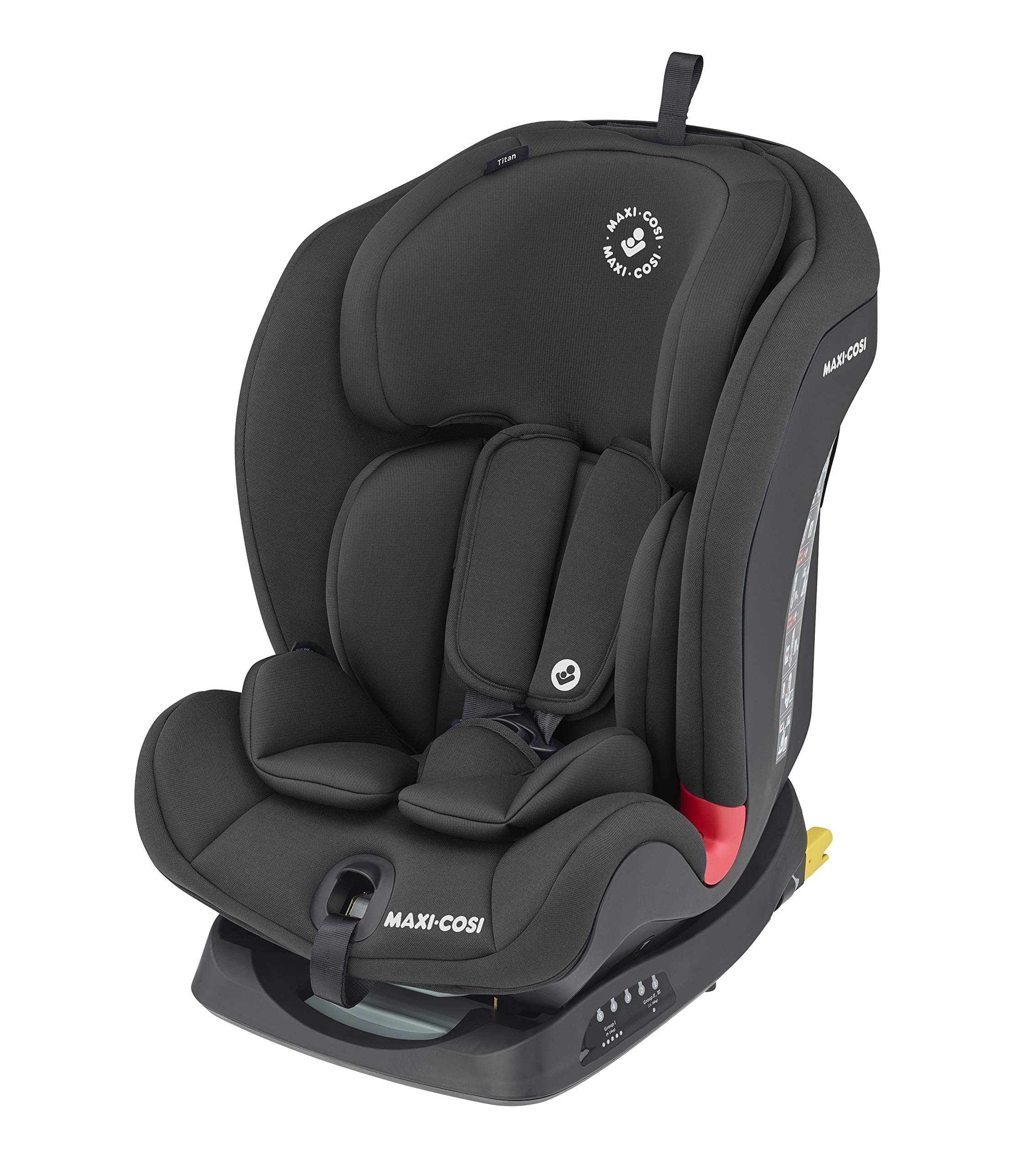 Maxi-Cosi Titan Toddler/Child group 1-2-3, Convertible,Reclining Isofix Car Seat, 9 months - 12 years, Basic Black Maxi-Cosi A multi-stage car seat suitable for babies, toddler and children from 9 months to 12 years (approx. 9 - 36 kg) Easy adjustable and smooth headrest of this reclining car seat grows along in 11 steps to provide ultimate comfort for your little one Solid isofix installation with top tether offers great stability for this convertible car seat 1