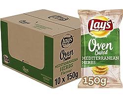 Lay's Oven Baked Chips Mediterranean Herbs, Doos 10 stuks x 150 g